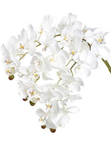 Famibay Flores artificiales de orquídea Phalaenopsis con 11 cabezas de orquídea de...