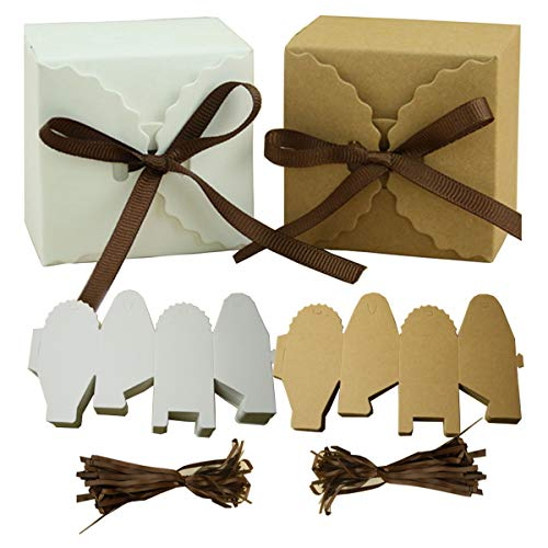 Mengger Cajas para Dulces Regalos Cajita Paper Kraft Carton Bombones Caramelos Navidad...