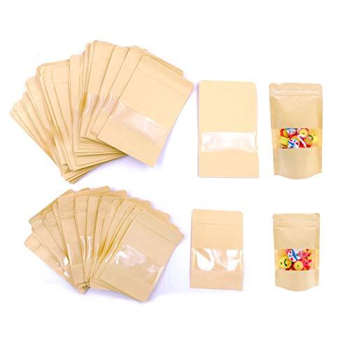 JZK 100 x Resellable bolsas de papel kraft marrón con ventana cierre zip para llevar...