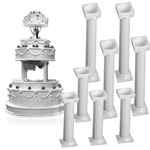 Voarge Juego de 8 columnas de plástico blancas pequeñas y grandes para tartas, soporte...