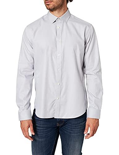 Marca Amazon - find. Camisa Formal Hombre, Gris (Grey), 42 cm, Label: XL
