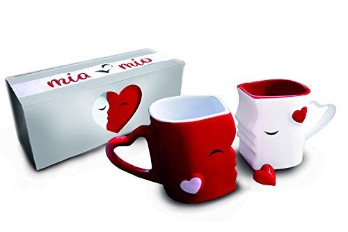 MIAMIO - Tazas de Café/Tazas de Besos Set/Regalo para Novios - Ceramica (Rojo)