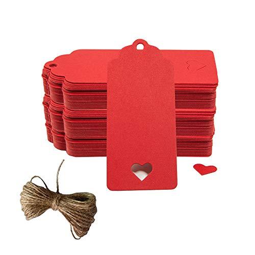 100pc Hollow corazón Kraft etiquetas de papel, crivers 1,6 x 3,5 pulgadas etiquetas de...