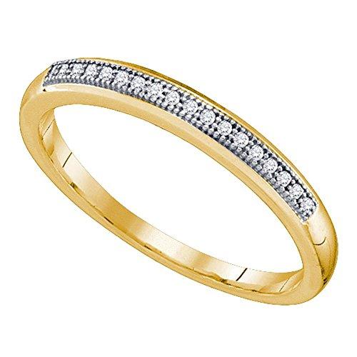 Alianza de oro amarillo de 10 quilates para mujer con diamantes redondos de 1/20 quilates