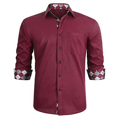 HISDERN Camisa para Hombre Casual Formales Clásico con Botones Camisas de Vestir Cuello...