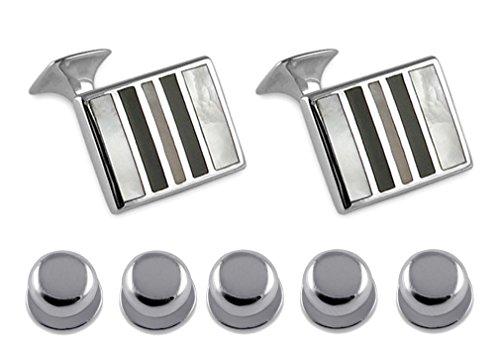 Select Gifts Sterling Silver de Madre Perla & Onyx Gemelos Camisa a Rayas espárragos...