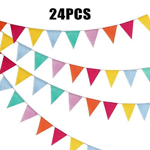 G2PLUS 24pcs Guirnalda Banderas Banderines de Colores triángulo Banner Guirnaldas Tela...