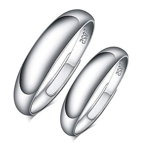 CPSLOVE Anillo de plata de ley 925 para pareja, anillo simple para hombre y mujer, tamaño...