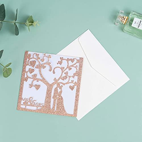 Tarjetas de invitación de boda cortadas con láser (20 unidades) – Tarjetas de boda con...