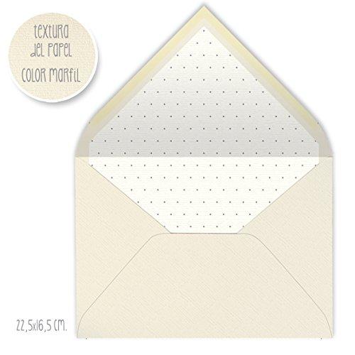sobres forrados CLÁSICO MARFIL- PUNTOS-PLUMETI-TOPOS- 22,5x16,5 cm (gris)