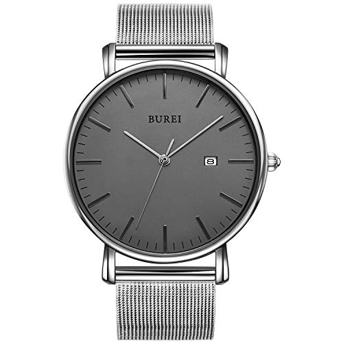 BUREI Reloj de Pulsera clásico para Hombres Estuche Ultra Fino Minimalista Dial...