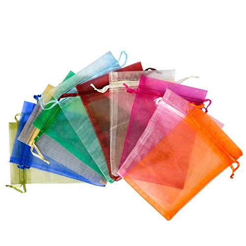 QLOUNI 100 Bolsitas de Organza Multicolores de Regalo Ideal para Decoración de la...