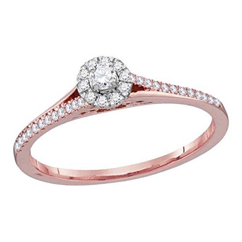 Anillo de Compromiso de Lux de Oro Rosa de 10 Quilates con Diamante Redondo para Mujer,...