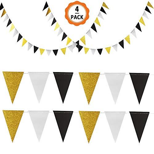 4pcs Banderines de Tela Banderas de Triángulo con Brillo de Doble Cara, Decoraciones de...