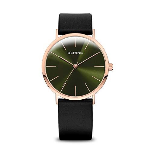 BERING Reloj Analógico Classic Collection para Mujer de Cuarzo con Correa en Cuero y...