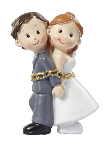 Figuras para tarta de boda con texto en inglés 'Bride and Groom in Chains'