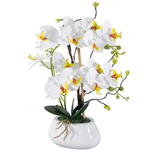 VIVILINEN Orquideas Artificiales en Maceta Flores Artificiales Plásticos Flor de...