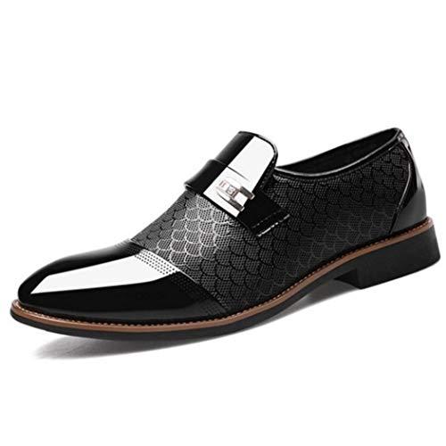 Zapatos De Negocios para Hombres Zapatos De Vestir De Charol Puntiagudos Bajos Sin...