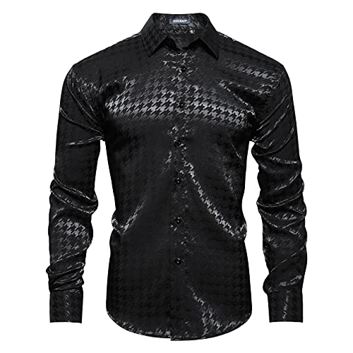 HISDERN Camisa de Manga Larga con Pata de Gallo Hombre Camisas de Vestir Formales...