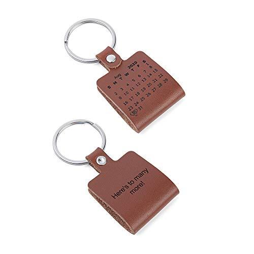 Llavero para Hombre Llavero Personalizado de Cuero con Fecha Calendario - Grabado Gratis -...