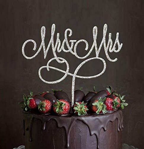 Decoración acrílica para tarta de boda con diseño de Mr y Mrs