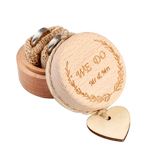 AerWo Caja para anillos de boda creativa, rústica, de madera, para anillos de compromiso,...
