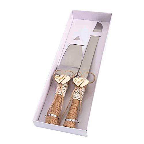 DISOK - Set de Cuchillo y Pala Kraft Boda. Originales Utensilios para tartas de bodas....
