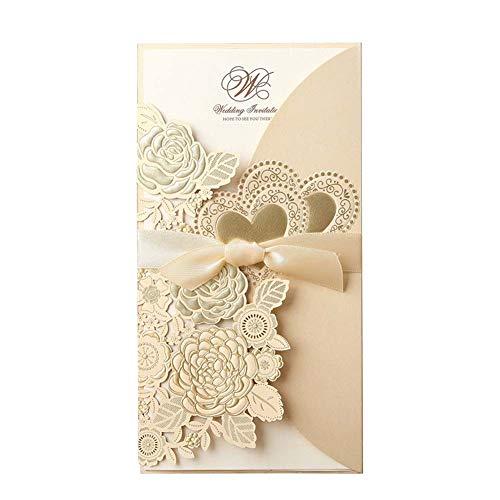 JXS-Wedding Invitación de Boda con Corte láser, bellamente Estampado, Proceso de...