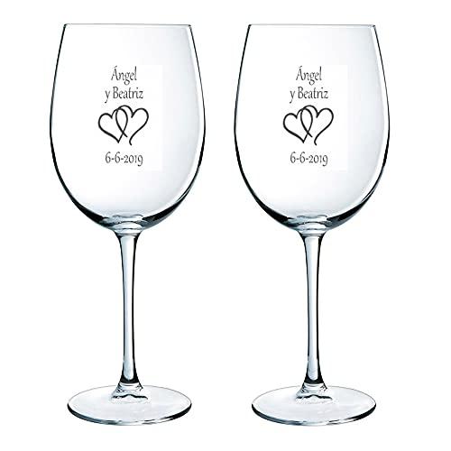 Regalo para Parejas Personalizable: Copas de Vino grabadas con los Nombres, Fechas o...
