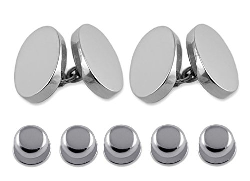 Select Gifts Sterling Silver heavyweight a doble cara oval visten camisa gemelos...