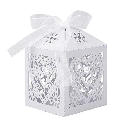 UNHO Caja de Dulces para Boda Blanca Cajas de Caramelos de Papel Cajas para Regalos de...