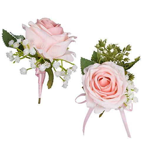 YQing 2 Piezas Boutonniere Ojales Novio Padrino de Boda El Mejor Hombre Rose Flores de...