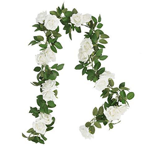 SHACOS 3 Unidades Guirnaldas de Rosas Artificiales de Seda Guirnalda de Flores Blancas...