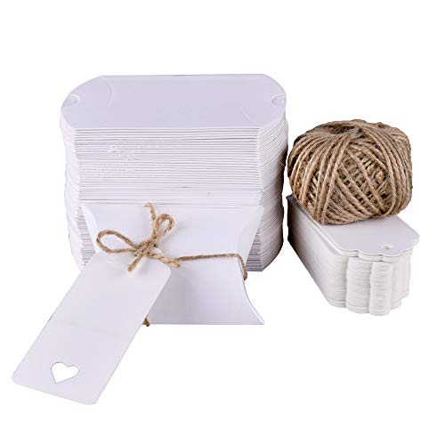 GUDOTRA 100 pcs Cajas de Caramelos Kraft Moderna Blanca+ 30M Cuerda+100 Tarjetas para...