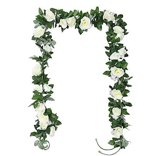 TSHAOUN 2 Piezas Guirnalda de Rosas Artificiales Flores, Falsas Rosa Vid Colgante Planta...