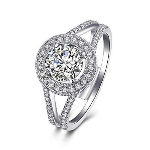 KnSam 18K Oro Blanco Anillo, Anillo de Propuesta Redondo, Diamante F-G, Color Plata,...