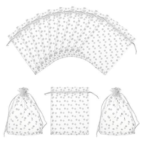 NBEADS 50 bolsas de regalo de organza, color blanco, con cordón, con lunares, para...