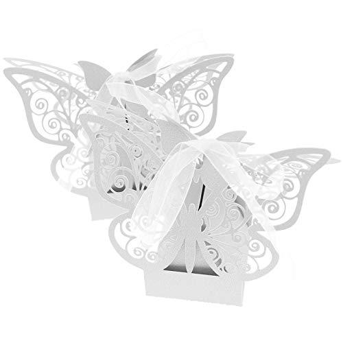 BIYM 50 Cajas de Caramelos Blancas con Forma de Mariposa, Cortadas con láser, Regalo de...