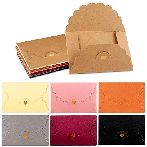 Mini Sobres de Regalo 42pcs Sobres Pequeños Colores de Invitación Sobres para Tarjetas...
