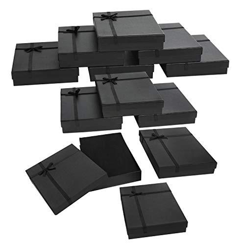 Kurtzy Cajas de Regalo para Joyas Papel Negro (Pack de 12) 16 x 12 x 3 cm – Cajitas...