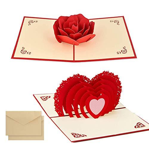 2pcsTarjeta para San Valentín,, hermoso corte de papel, 3D Pop-Up Tarjeta de...