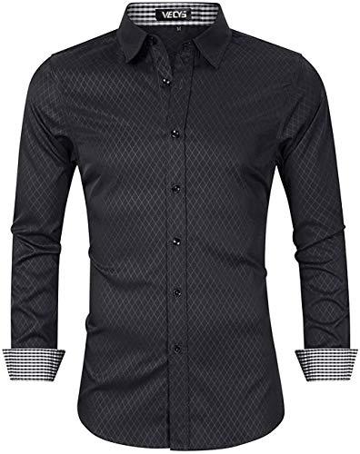 Vecys Camisa para Hombre Camisa para Hombre Camisa Ajustada de Manga Larga para Hombre Sin...