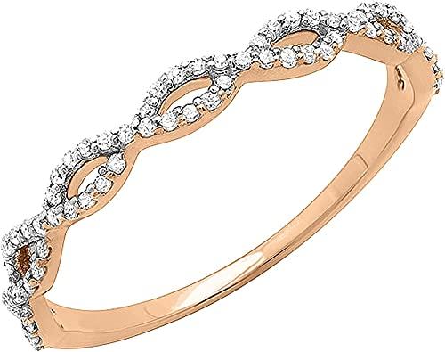 0.20 quilates, blanco natural, corte redondo, remolino, apilable, aniversario, anillos de...