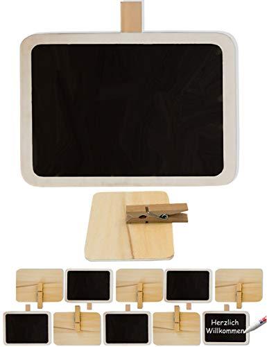 HomeTools.eu® - 10 pizarras de madera, carteles con pinza para escribir el nombre,...