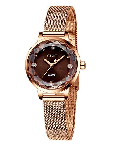CIVO Relojes para Mujer Reloj Damas de Malla Impermeable Lujo Minimalista Oro Rosa...