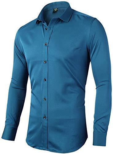Camisa elástica para Hombre, Manga Larga, Corte Ajustado, Informal/Formal Disponible,...
