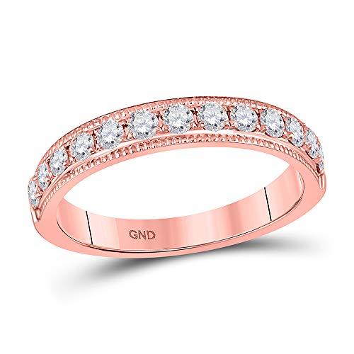 Diamond2Deal - Alianza de boda de diamantes redondos de oro rosa de 14 quilates, 1/2...