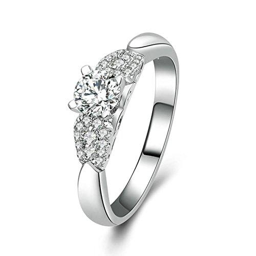 Adokiss Alianzas de plata 925, anillos de compromiso de 4 garras de plata con circonitas...