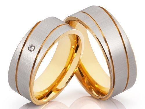 2 anillos de alianzas y corazones Póster con anillos de compromiso anillos Bicolor con...