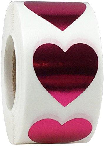 Rosas Metálicas Pegatinas Para el Corazón, 25 mm 1 Pulgadas Brillantes Etiquetas de San...